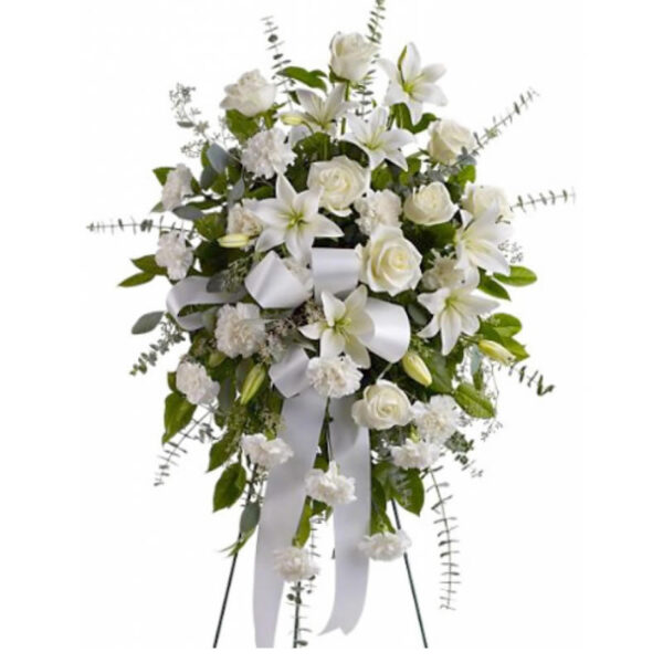 Lagrima fúnebre de rosas, lirios y lluvias blancas